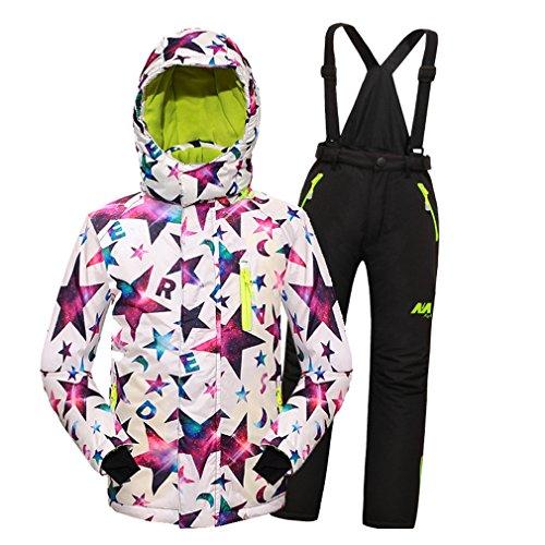 d6da510cd3 Mingao Big Girls  Thicken Warm Hooded Ski Snowsuit Jacket +Pants Two-Piece  Set White 11-12 Years